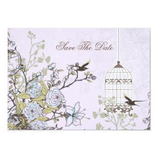 la jaula de pájaros púrpura floral, pájaros del invitación 12,7 x 17,8 cm