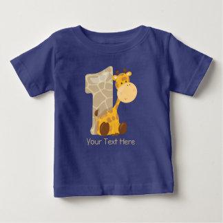 La jirafa del bebé y numera un | personalizado camiseta de bebé