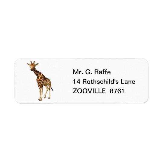 La jirafa etiquetas de remite