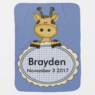 La jirafa personalizada de Brayden Mantita Para Bebé