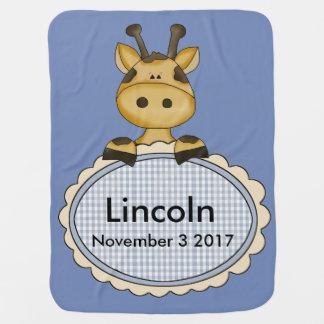 La jirafa personalizada de Lincoln Mantita Para Bebé