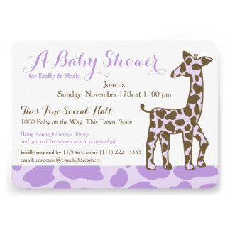 La jirafa púrpura mancha la fiesta de bienvenida invitaciones personales