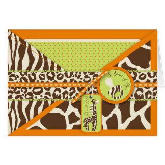 La jirafa y el pacificador del safari le agradecen tarjeta pequeña