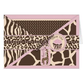 La jirafa y la magdalena rosadas del safari le tarjeta pequeña
