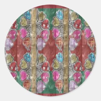 La joya roja decorativa del lazo chispea REGALO Pegatina Redonda