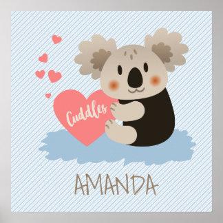 La koala linda abraza ID386 Póster