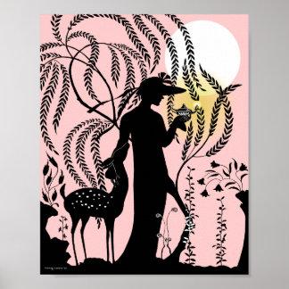 La lámpara mágica en melocotón póster
