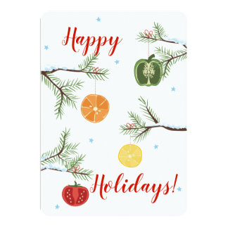 La legumbre de fruta corta la tarjeta de Navidad