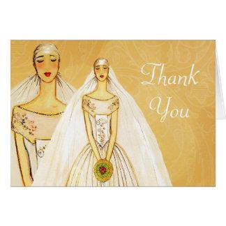 La lesbiana gay del oro elegante le agradece con tarjeta de felicitación