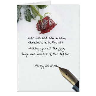 La letra del navidad del hijo y del yerno en nieve tarjeta de felicitación