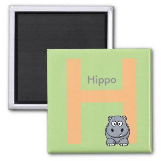 La letra H está para el imán de los niños del