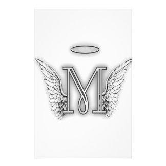 La letra inicial del alfabeto M del ángel se va Papelería Personalizada