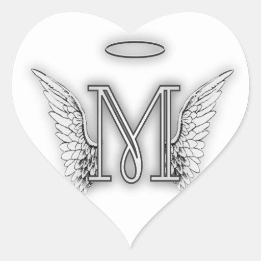 La letra inicial del alfabeto M del ángel se va Pegatina En Forma ...