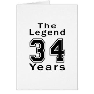 La leyenda 34 años de regalos de cumpleaños tarjeta de felicitación