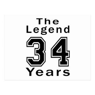 La leyenda 34 años de regalos de cumpleaños postal