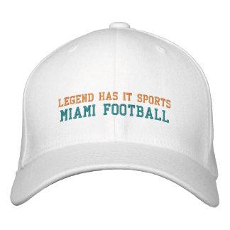 La leyenda tiene lo se divierte/fútbol de Miami Gorros Bordados