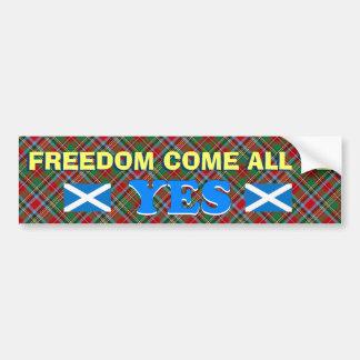La libertad escocesa viene toda la pegatina para e etiqueta de parachoque