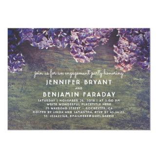 La lila florece fiesta de compromiso de madera invitación 12,7 x 17,8 cm
