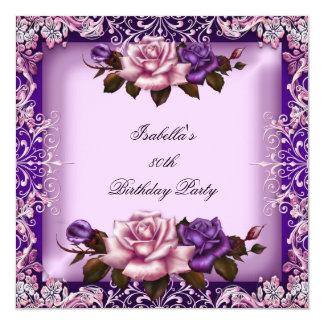 La lila púrpura rosada elegante subió a la 80.a invitación 13,3 cm x 13,3cm