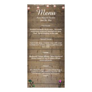 La linterna rústica enciende el menú del boda plantillas de lonas