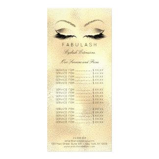 La lista de precios de marcado en caliente azota tarjeta publicitaria