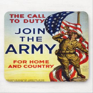 La llamada al deber - únase al poster del ejército alfombrillas de ratones