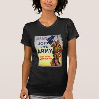 La llamada al deber - únase al poster del ejército camiseta