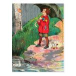 La lluvia, lluvia, sale, viene otra vez otro día postal