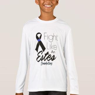La lucha como un Estes embroma al cáncer Blue Line Camiseta
