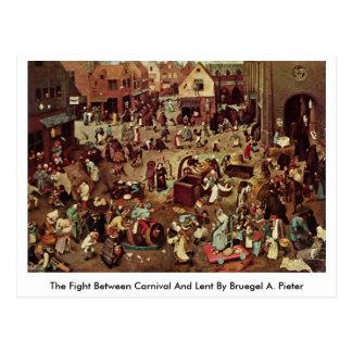 La lucha entre el carnaval y prestada por Bruegel  Tarjetas Postales