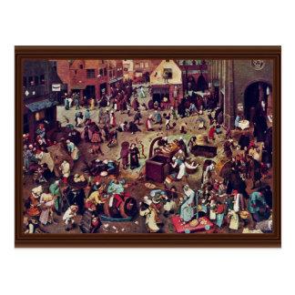 La lucha entre el carnaval y prestada, por Bruegel Postal