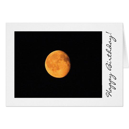 La luna amarilla grande; Feliz cumpleaños Tarjeta De Felicitación