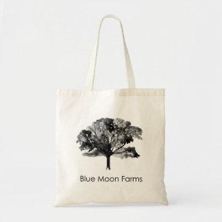 La luna azul cultiva el tote del árbol bolso de tela