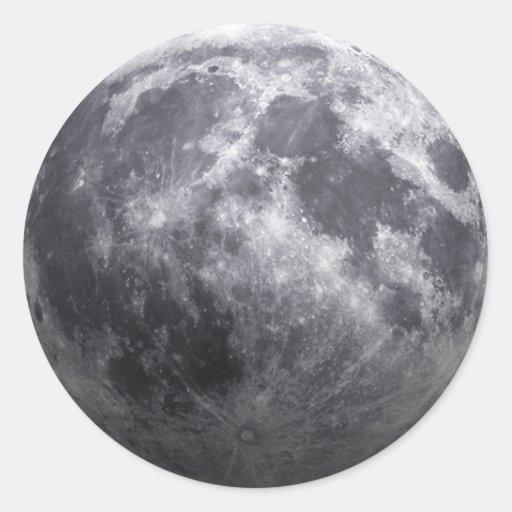 La luna - efecto 3D Etiqueta Redonda