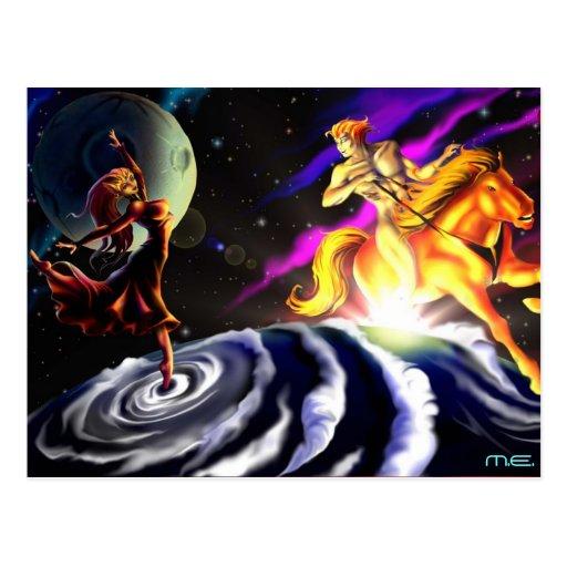 La Luna y Helios de O Postales
