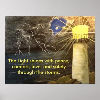 La luz brilla con el arte del poster de la