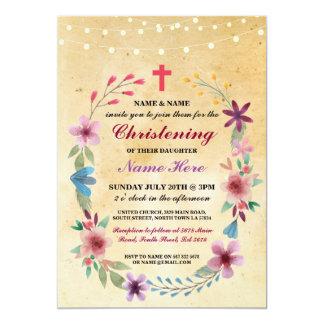 La luz cruzada floral del bautismo del bautizo del invitación 12,7 x 17,8 cm