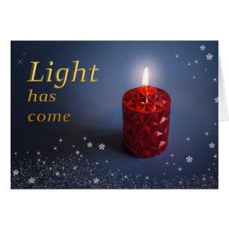 La luz tiene tarjeta de Navidad cristiana venida