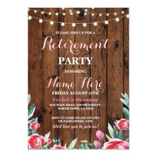 La madera floral rosada roja del fiesta de retiro invitación 12,7 x 17,8 cm