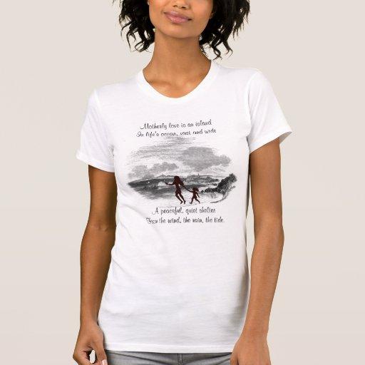 La madre y la hija hermosas de la silueta gozan de camiseta
