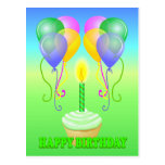 La magdalena del feliz cumpleaños hincha la postal