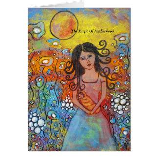 La magia de la maternidad tarjeta de felicitación