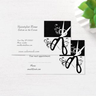 La magia del estilista remolina blanco negro tarjeta de negocios