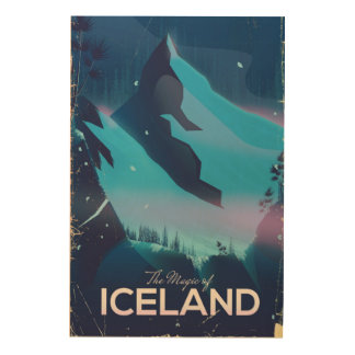 La magia del poster del viaje de Islandia Impresión En Madera