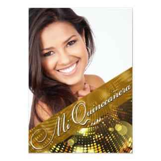 La magia enciende la foto Quinceanera - oro Invitación 12,7 X 17,8 Cm