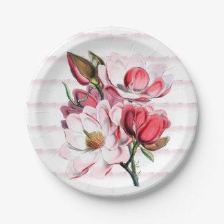 """La magnolia rosada florece las placas de papel 7"""" plato de papel"""