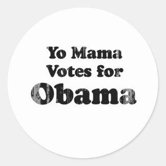 La mamá de Yo vota a Obama Faded png Pegatina Redonda