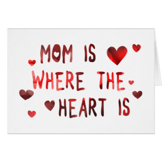 la mamá es donde está bokeh el corazón tarjeta de felicitación