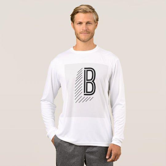 La manga larga de los hombres con B grande Camiseta