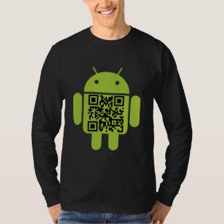 La manga larga de QR de los hombres androides del Camiseta